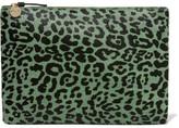 Clare Vivier Leopard-print Calf Hair Clutch - Green