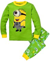 LEMONBABY cute boys girls Minion cartoon kids pants pajamas set (7Y, )
