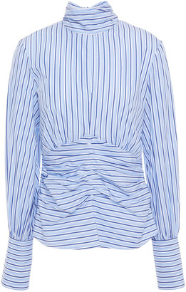 Victoria Victoria Beckham Tie-neck Cutout Ruched Striped Cotton-poplin Top