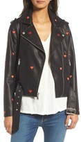 BCBGeneration Women's Heart Embroidered Faux Leather Moto Jacket