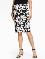 Talbots Bold Flower Paisley Pencil Skirt