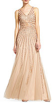 Adrianna Papell Plunging Neck Sleeveless Gown
