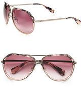 Diane von Furstenberg Juana Plastic & Metal Aviator Sunglasses