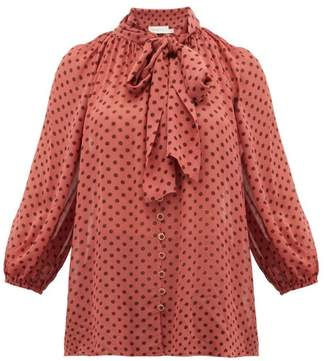 Zimmermann Espionage Pussy-bow Polka-dot Chiffon Blouse - Womens - Pink Print