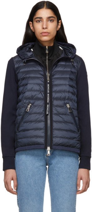 Moncler Navy Knit Combo Hooded Jacket