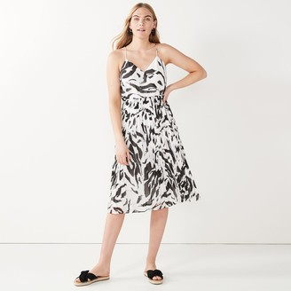 Nine West Petite Zebra-Print Pleated Faux-Wrap Dress