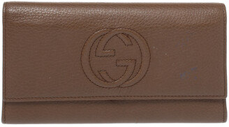 Gucci Brown Leather Soho Continental Flap Wallet
