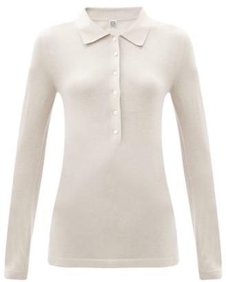Totême Millana Long-sleeved Wool Polo Shirt - Beige