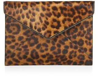 Rebecca Minkoff Leo Snakeskin-Embossed Leather Envelope Clutch