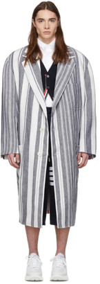 Thom Browne Navy and White Stripe Patch Pocket Oversized Coat