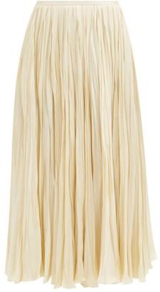 Jil Sander Plisse Twill Midi Skirt - Ivory