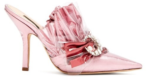 5290fec058b Ruched Lame & Pvc Stiletto Heel Mules - Womens - Light Pink
