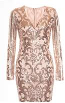 Quiz Nude And Rose Gold Sequin V Neck Dress