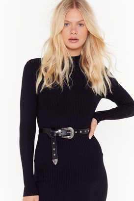 Nasty Gal Womens Flaming Star Faux Leather Buckle Belt - Black - One Size