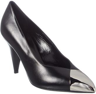 Celine Triangle Heel Metallic Toe Leather Pump