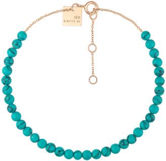 ginette_ny Mini Maria Turquoise Beaded Bracelet - Rose Gold