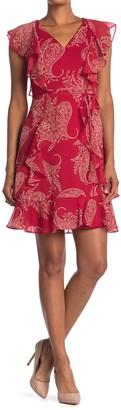 Tommy Hilfiger Paisley Chiffon Ruffled Dress