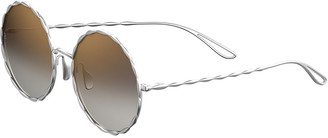 Elie Saab Mirrored Round Gold-Plated Sunglasses