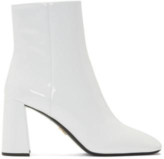 Prada White Patent Vernice Boots