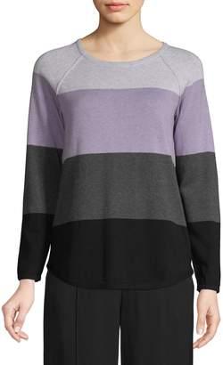 Karen Scott Petite Colourblock Cotton Pullover Sweater
