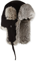 Neiman Marcus Fur-Trim Trapper Hat, Black/Gray