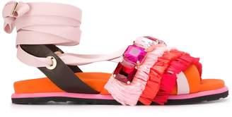 SUECOMMA BONNIE raffia-fringed wrap-around slides