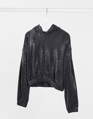 Noisy May night long sleeve sequin hoodie in black