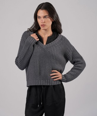 Atm Cotton Cashmere Chunky V-Neck Pullover - Heather Charcoal