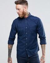 Wrangler Slim Western Shirt In Lightweight Indigo