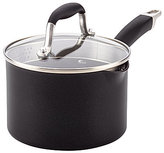 Anolon Advanced Onyx Hard-Anodized Nonstick Covered Straining Saucepan with Pour Spouts