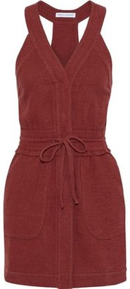 Rebecca Minkoff Royal Tie-front Cotton-blend Canvas Mini Dress