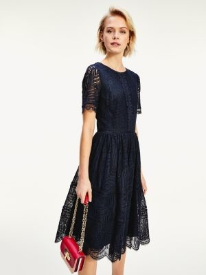 Tommy Hilfiger Lace Fit And Flare Dress