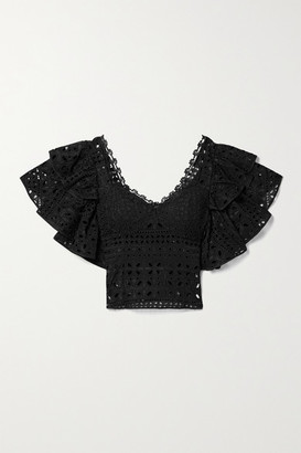 Charo Ruiz Ibiza Belle Cropped Ruffled Crochet-trimmed Broderie Anglaise Cotton-blend Top - Black