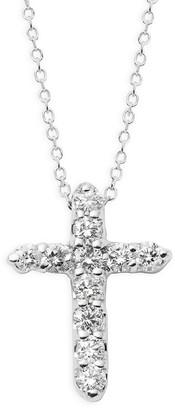 KC Designs 14K White Gold Diamond Cross Pendant Necklace