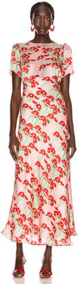 BERNADETTE Jane Silk Satin Dress in Daisy Red & Pink | FWRD