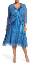 Komarov Plus Size Women's Embellished Dress With Drape Front Jacket