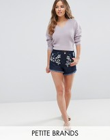 Miss Selfridge Petite Floral Embroidered Frayed Denim Shorts
