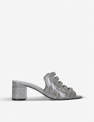 Gina Cosmos Swarovski-embellished croc-embossed leather mules