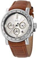 Dolce & Gabbana Genteel Chronograph Cognac Strap Silver-Tone Dial Men's Watch #DW0485