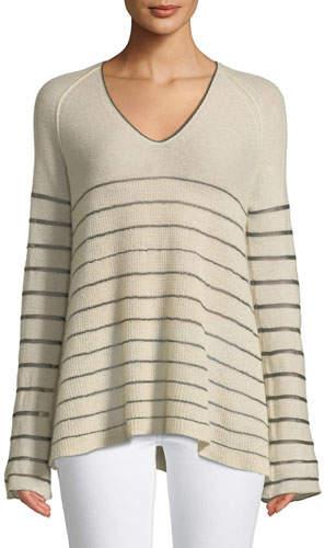Forte Forte Striped V-Neck Cashmere Sweater