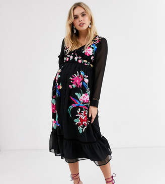 Asos DESIGN Maternity embroidered skater midi dress with lace trims and pephem