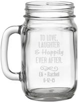 """Personal Creations Set of 2 Personalized """"To Love, Laughter & Happily Ever After"""" Mason Jars"""