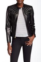 Cole Haan Genuine Lambskin Leather Moto Inspired Jacket
