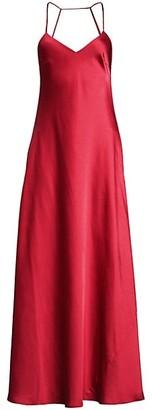 BCBGMAXAZRIA Open-Back Satin Flare Gown