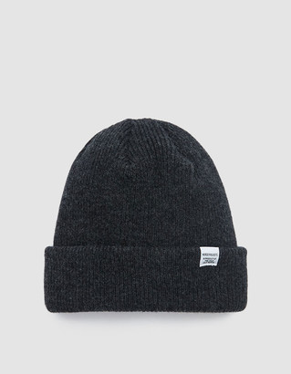 Norse Projects Men's Norse Beanie Hat in Charcoal Melange | Wool