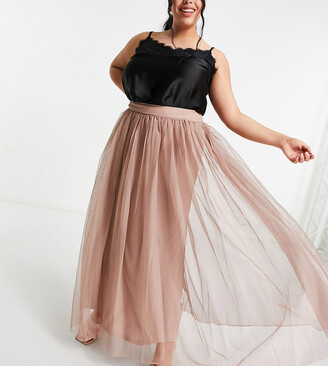 Lace & Beads Plus tulle maxi skirt in mink