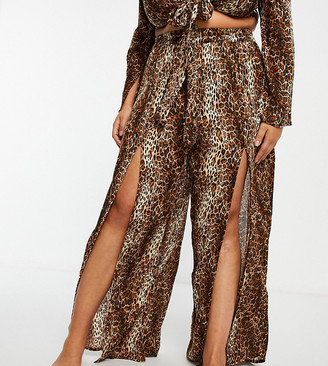 ASOS DESIGN curve split front beach pants in natural leopard print co-ord