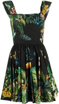 Dolce & Gabbana Tropical Print Flared Dress