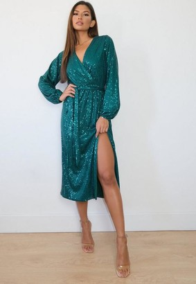 Missguided Green Sequin Wrap Midaxi Dress