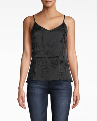 Nicole Miller Stretch Charmeuse Embroidered Cami